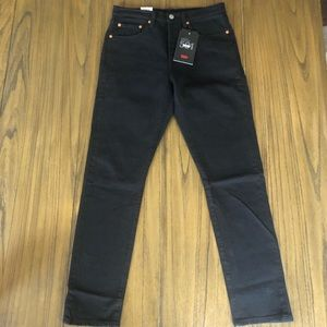 Levi's 501 skinny high rise button fly black jeans
